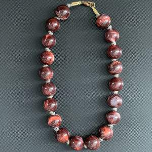Dark Red Bead Knotted Necklace